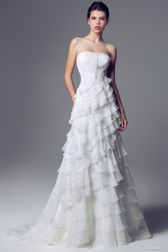 blumarine sposa 2014 strapless ruffle wedding dress