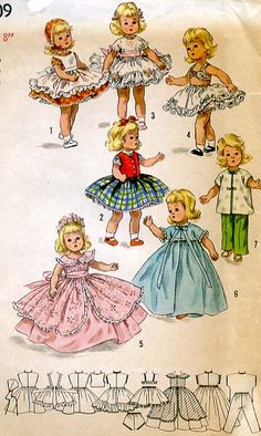 Simplicity 1809. 1956. Doll wardrobe. CoPA with  pattern pieces.