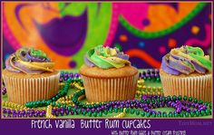 French Vanilla Butter Rum Mardi Gras Cupcakes with Captain Morgan spiced rum. Yum.