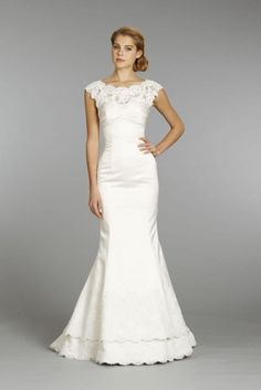 Alvina Valenta | Fall 2013 | Style: 9361 | Ivory trumpet gown with lace bateau neckline and cap sleeves.