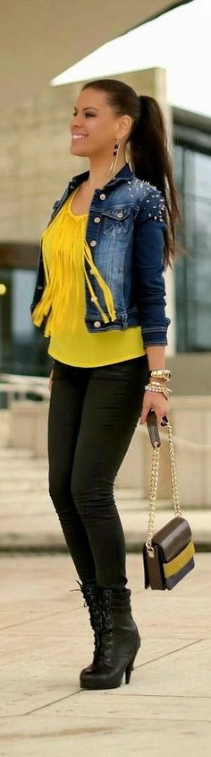 LoLus Fashion: Awesome Outfit Yellow Blouse With Denim Shoulder S...