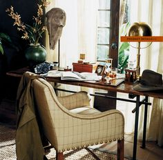 "Ralph Lauren Home Archives, ""Cape Lodge"", Detail, 2008; ""Inspired by an exotic estate with echoes of safari, a warm earth-toned palette weaves together colonial, campaign and Moderne furnishings in mahogany, rattan and tent canvas with vachetta leather, madras and brass."""