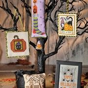Halloween ornaments and decor to cross stitch