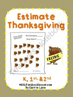 Estimate Thanksgiving from My Book Boost on TeachersNotebook.com (7 pages)  - Your students can practice estimating and counting with these Thanksgiving-themed sheets. Fun for the whole class or as a center.