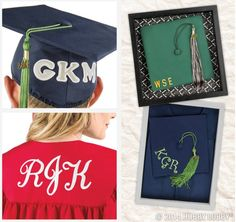 Planning to personalize your cap & gown for graduation? Try using iron-on letters to create this monogrammed look. Then, place the cap into a shadow box backed with graduation-themed scrapbook paper for a keepsake!