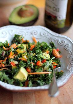 Kale Rainbow Detox Salad with Lemon Vinaigrette.