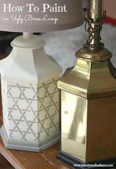 Easily transform an ugly brass lamp into something beautiful in just minutes. www.beautyandbedlam.com Paint and Stencil brass lamp