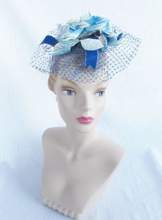 1960's Vintage Blue Whimsey Fascinator with Roses