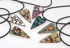 Heart pendants by Angela Ibbs Mosaics at BreezyB5