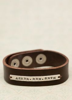 Leather Cuff for guys or girls, kids name