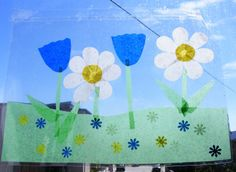 Window scenes using tissue paper and laminating paper.