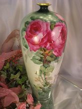 """Antique Limoges France Vase 14"""" Tall Hand Painted Roses Vintage Victorian China Painting of PINK ROSES Handpainted Floral Art Fine French Porcelain, circa 1900"""