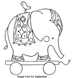 pulltoy. Very cute free hand embroidery pattern. hand embroidery, elephants, embroidery patterns, embroideri pattern, children toy, toys, eleph pull, pull toy, pulltoy