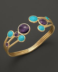 Marco Bicego Turquoise and Amethyst Cuff in 18K Yellow Gold | Bloomingdale's