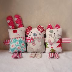 Christmas softie pink red and green christmas by roxycreations