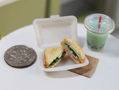Made Entirely with Polymer Clay! Miniature Ham and Swiss Sandwich With Bubble Tea by StarSisters, $10.00