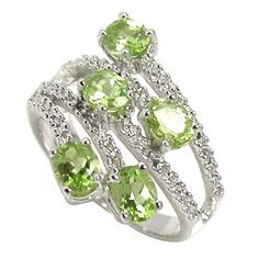 1.93ct Genuine Natural Peridot Gemstone and Diamond 10k White Gold Ring(Limited Edition Last One)