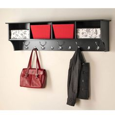 Wide Hanging Entryway Shelf In Black.