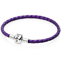 Pandora Purple Single Braided Leather Bracelet