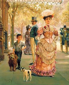 """(notice the sweet Jack Russell in the paining..)""""Rags And Riches"""" painting by, Alan Maley. A contemporary artist, born in Surrey, England (1931-1995). He extensively studied the social culture of the 19th century, and his works reflect his interest in that Era."""