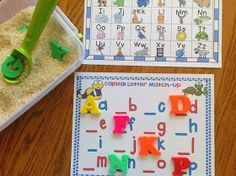 ABC Rice Box and Cookie sheet Center activity FuN!