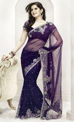 Purple and Blue Net Saree