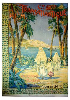 Vintage French Travel Poster Algeria Tunisia 1920s Drawing