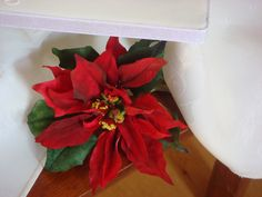 Flowers - Cold Porcelain Poinsettia I made by myself at home in 2010.  I us6de Alan Dunn's Christmas Book and my own real poinsettia for guidance.
