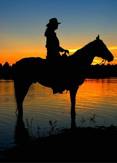 Cowgirl Silhouette at Sunset