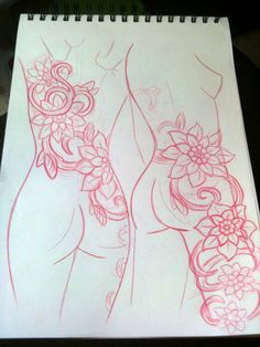 thigh tattoos   Shoulder To Thigh Flowers and Vines Tattoo Concept Sketch John ...