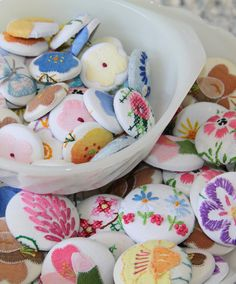 Vintage embroidered linens made into buttons