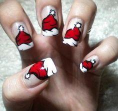 gorros de papa noel uñas decoradas
