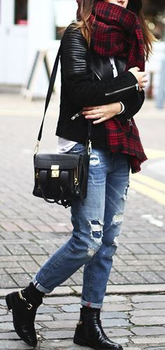 burgundy tartan scarf, denim & leather jacket