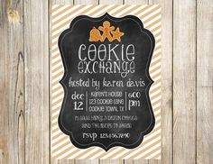 Chalkboard Cookie Exchange Invitation by EmmyJosParties on Etsy