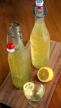 Lemoncello  Ingredients:        10-12 Lemons, unsprayed or organic      750 ml Vodka (100 proof)      1 1/2 cup water      2 1/2 cups sugar