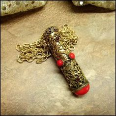 Antique Necklace Lipstick Holder w Red Glass 1920s