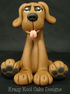 doggy items, clay, dog cakes, dogs, dog cake topper, dog cupcake toppers, brown dog, dog fondant, fondant dog