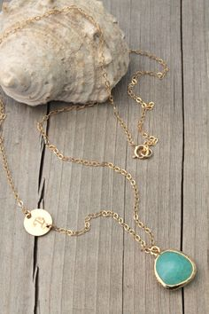 Initial Necklace,Fine 14K Gold Filled chain,Cracked Lagoon-blue pendant, personalized stamped letter, Custom, bridesmaids, aqua blue mint on Etsy, $38.00