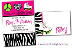 Peace Love ROLLER SKATING Printable Birthday Party by khudd, $14.00