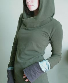hooded top with extra long sleeves Olive/Cement by joclothing, $60.00