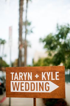 modern wood sign // photo by Alders Photography // View more: http://ruffledblog.com/industrial-los-angeles-wedding/