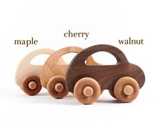 organic toy car LOVE BUG - natural wooden toy, eco-friendly sustainable wood, waldorf toy for baby or toddler. $14.00, via Etsy.