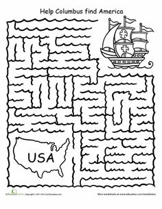 Worksheets: Columbus Day Printables: Maze