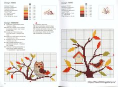 Gallery.ru / Фото #160 - Rico 122, 123, 124, 125, 126, 127 - Fleur55555; Owl and bird to cross stitch in fall colors; you could transpose the colors.