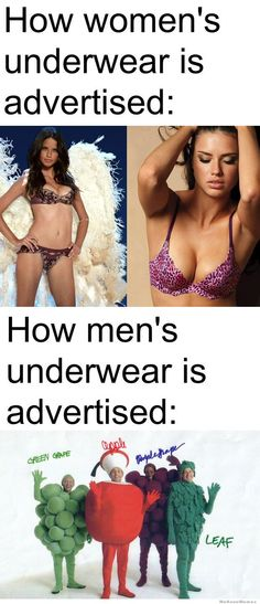 How women's vs men's underwear is advertised the women, real women, bananas, funni, men underwear, thought, apples, serious laugh, men vs women