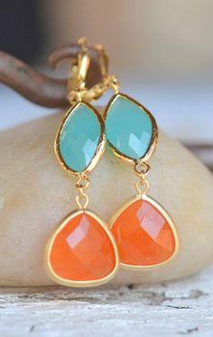 orange, aqua and gold.