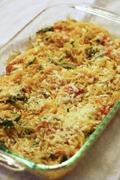 Roasted Tomato and Basil Casserole - Spaghetti Squash Casserole with grape tomatoes, garlic, fresh basil and cheese.