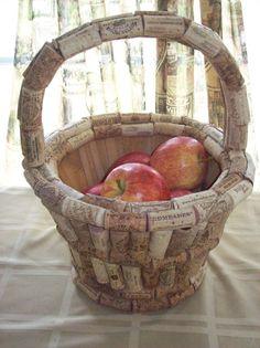Wine Cork Basket Idea.  Wine corks over an apple basket - Such a great idea!