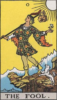 ... and as counterpoint, the Rider Waite Fool card by illustrator Pamela Colman Smith.