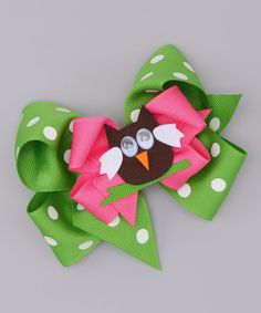 Take a look at this Green Polka Dot Bow & Pink Owl Clip by Picture Perfect Hair Bows on #zulily today!